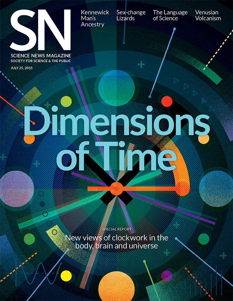 Science News magazine cover dimensions of time