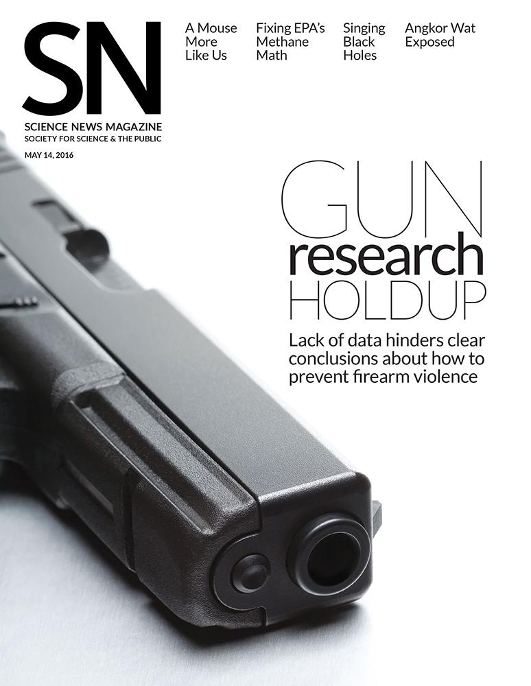 Science News magazine cover gun research